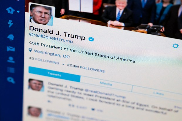This April 3 photo shows President Donald Trump's Twitter feed on a computer screen.
