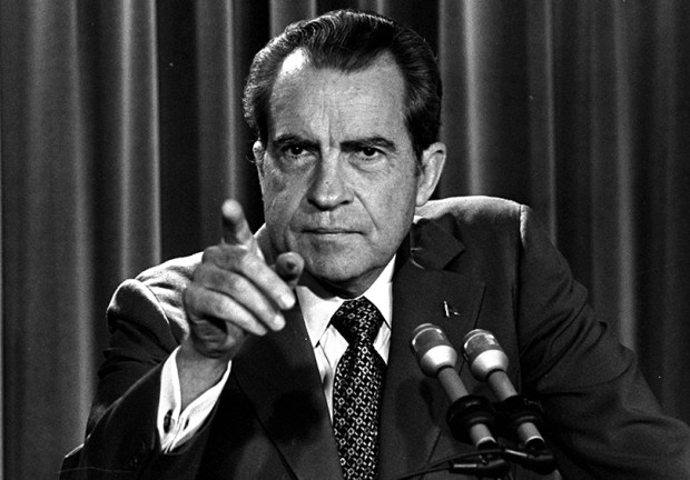 President Richard Nixon speaks during a March 15, 1973, news conference at the White House.