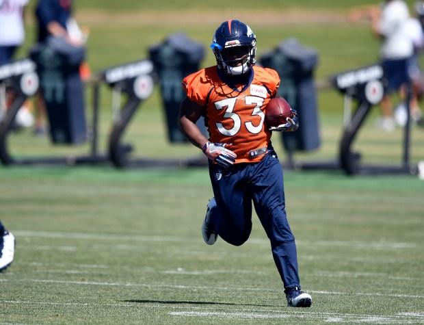 Denver Broncos running back De'Angelo Henderson ...