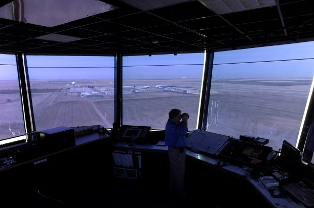 View from the control tower of Front Range Airport in Watkins on March 28, 2012.
