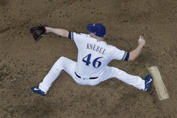 Milwaukee Brewers relief pitcher Corey Knebel ...