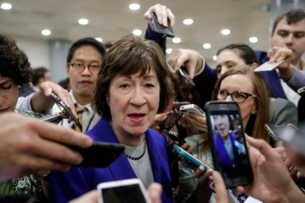 Sen. Susan Collins, R-Maine, speaks to reporters about Senate Republicans released health care bill on Thursday at the U.S. Capitol.