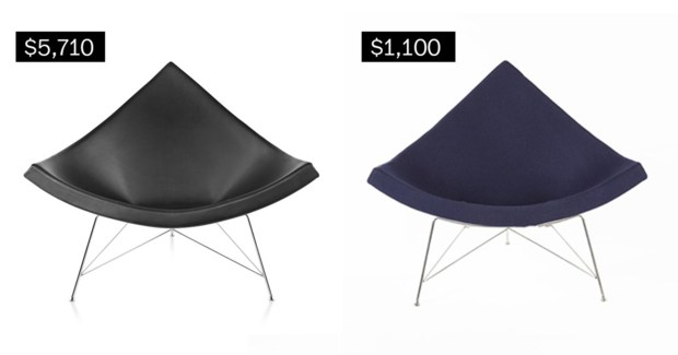 Nelson coconut lounge chair (store.herman miller.com), left; coconut lounge chair (wayfair.com).