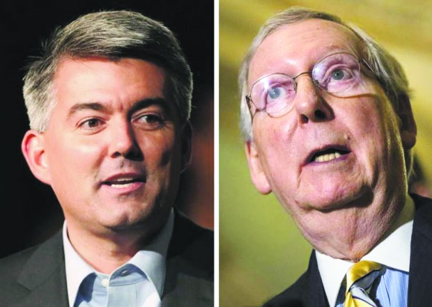 Sen. Cory Gardner, R-Colo., left, and Senate Majority Leader Mitch McConnell.
