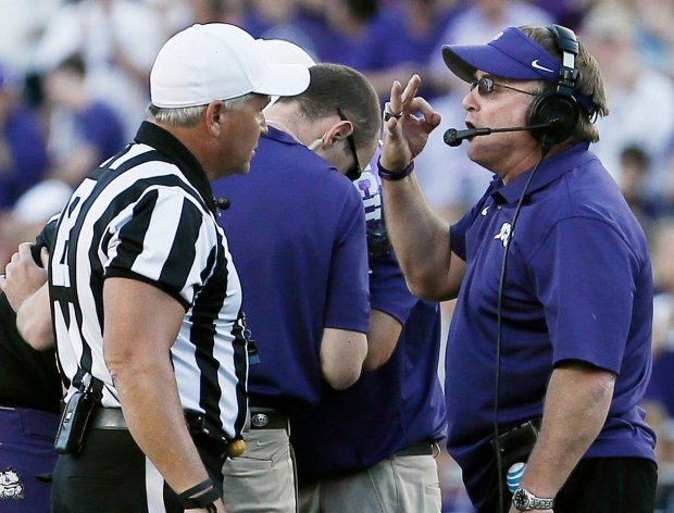TCU head coach Gary Patterson argues ...