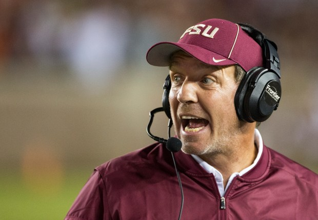 Florida State coach Jimbo Fisher shouts ...