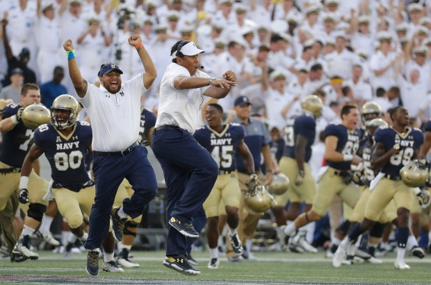 Navy head coach Ken Niumatalolo, ...