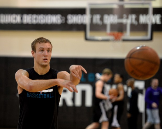 Luke Kennard participates in Charlotte Hornets pre-draft basketball workout