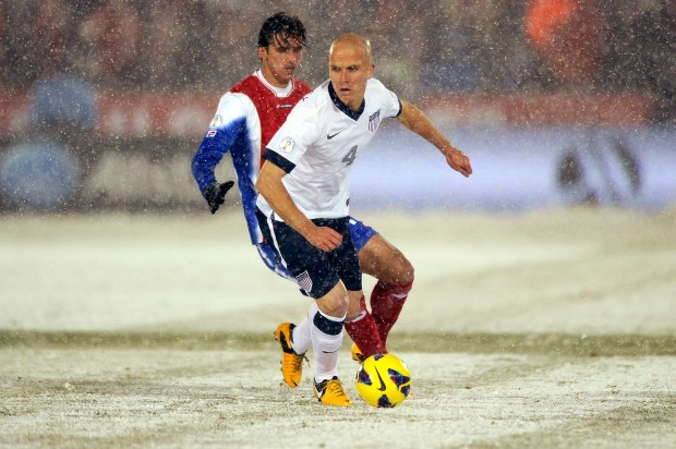 United States midfielder Michael Bradley (4) ...