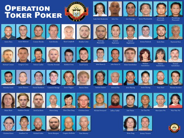 Operation Toker Poker pressboard released by the Colorado Attorney General's Office shows dozens of Coloradans accused of running a marijuana trafficking ring