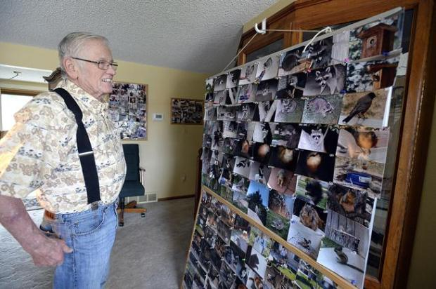 Gaylord Sigman on Thursday shows off some of the photos he has taken of the wildlife in his Loveland backyard.