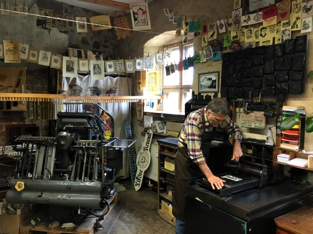 Andreas Metschke operates a historical print shop in Wittenberg, one of the last such in the area.