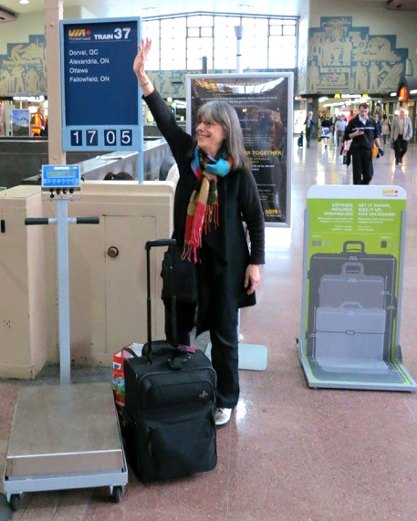 Evelyn Hannon, who created Journeywoman, an online resource for solo female travelers, waves goodbye to friends at the Montreal train station. MUST CREDIT: Handout courtesy of Evelyn Hannon.