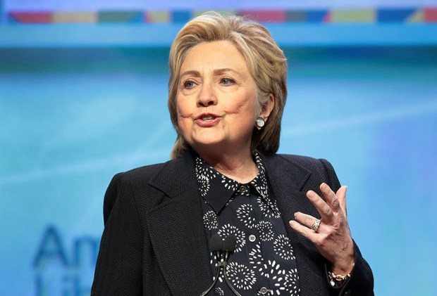 Former Secretary of State Hillary Clinton speaks to guests at the American Library Association's annual conference on June 27 in Chicago.