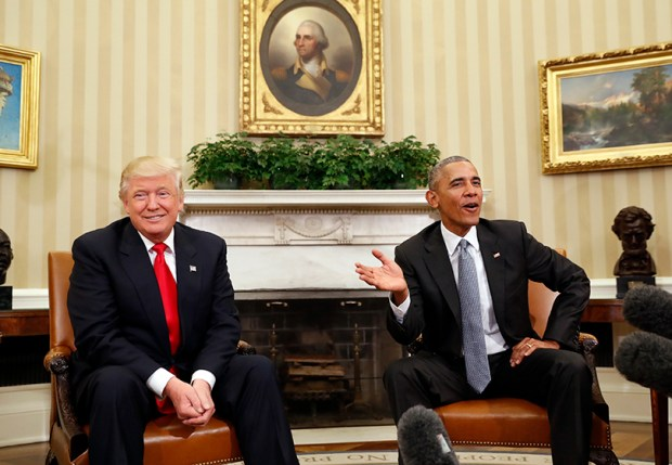 President Barack Obama meets with President-elect Donald Trump in the Oval Office on Nov. 10, 2016.
