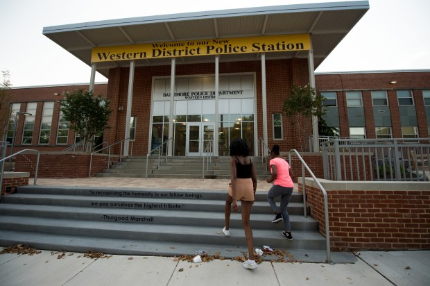 The newly renovated Western District police station is used for a community meeting on July 20, 2017 in Baltimore, Md.