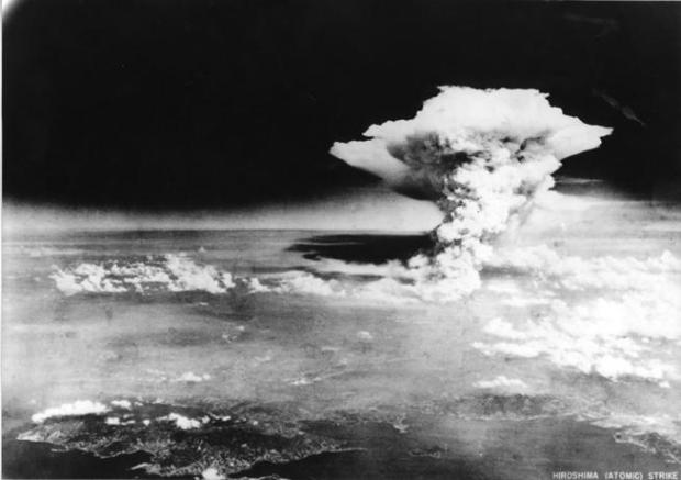 The mushroom cloud over Hiroshima after the United States dropped an atomic bomb on the city Aug. 6, 1945, near the end of World War II.
