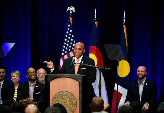 Denver Mayor Michael Hancock delivers his State of the City address at the Hiawatha Davis Jr. Recreation Center on July 10. Hancock is pushing a $937 million bond package, which voters will consider on Nov. 7.