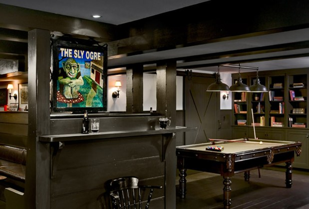 A home basement pub in Dutchess County, New York, designed by James Crisp's Millbrook, New York, architectural firm.