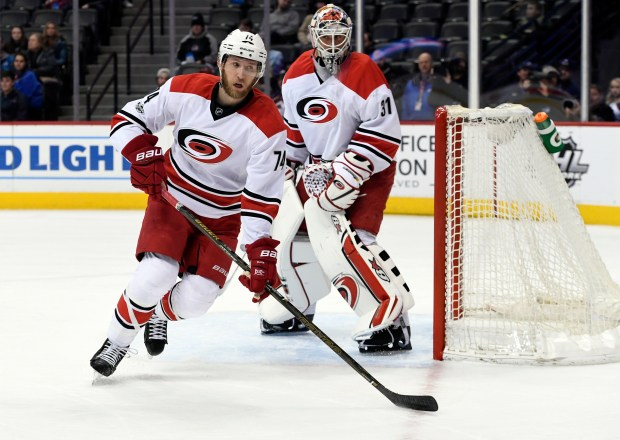 Carolina Hurricanes defenseman Jaccob Slavin (74) ...