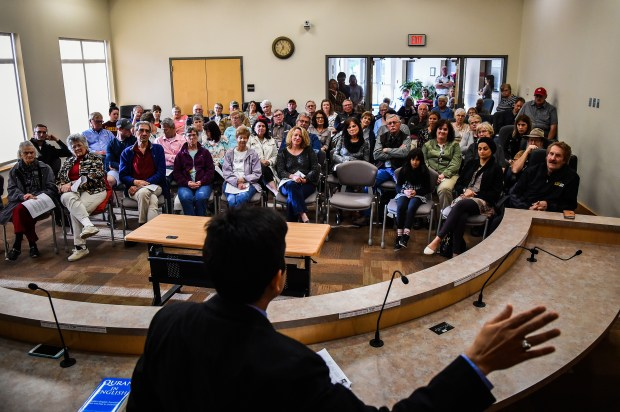 Dr. Ayaz Virji, 42, gives his lecture on Islam at City Hall in Granite Falls, Minn. Virji decided to give his third and last lecture after a librarian asked him to speak in Granite Falls, a town a half hour away from his home in Dawson.