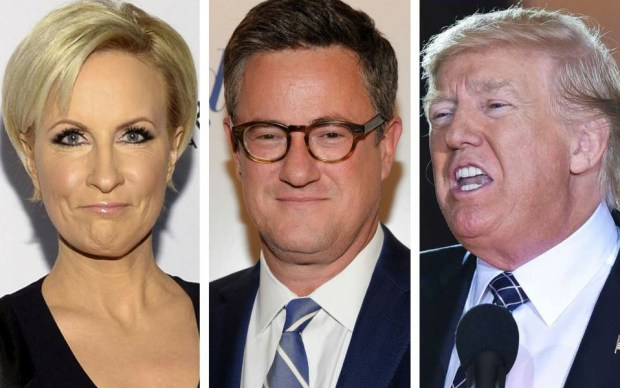 MSNBC hosts Mika Brzezinski and Joe Scarborough; and President Donald Trump.