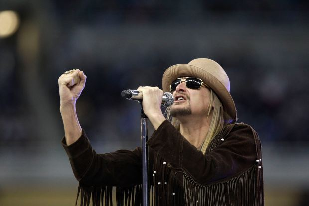 Musician Kid Rock performing at halftime of a Nov. 25, 2010, game between the Detroit Lions and the New England Patriots at Ford Field in Detroit. The Michigan native announced his candidacy for the U.S. Senate earlier this month.