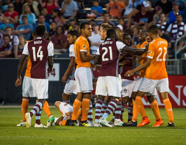 DENVER, CO - JULY 1: Colorado Rapids and Huston Dynamo players scuffle after a foul and injury in the final minutes of the Rapids home game on July 1, 2017 at the Dicks Sporting Goods Park in Denver, Colorado. (Photo by Gabriel Scarlett/The Denver Post)