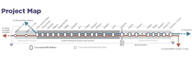 A conceptual bus rapid transit line map shows the basic setup, with center-lane busways running through East Denver and a potential mix of BRT and local service in Aurora.