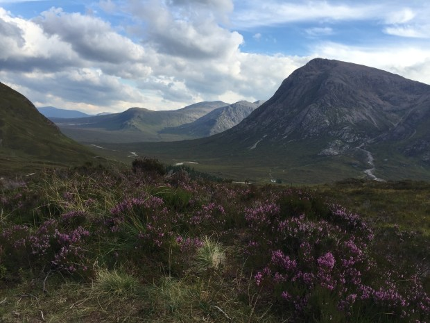 From just west of Kingshouse, the West Highland Way follows the old military road over the Devil's Staircase. This view is taken from the top looking back to Buachaille Etive Mor, often known to climbers simply as The Buachaille.
