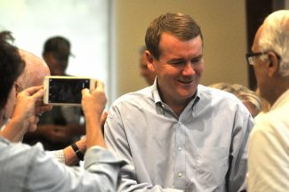 Michael Bennet spoke at a town hall in Steamboat Springs on Wednesday.