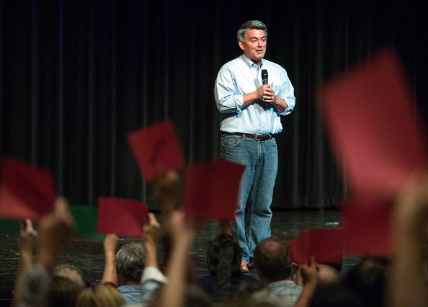 Sen. Cory Gardner, R-Colo., speaks at a town hall at Pikes Peak Community College in Colorado Springs.