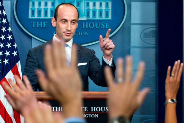 Stephen Miller, President Donald Trump's senior adviser for policy, speaks to reporters at the White House on Aug. 2 about the administration's plan to reduce legal immigration to the U.S.