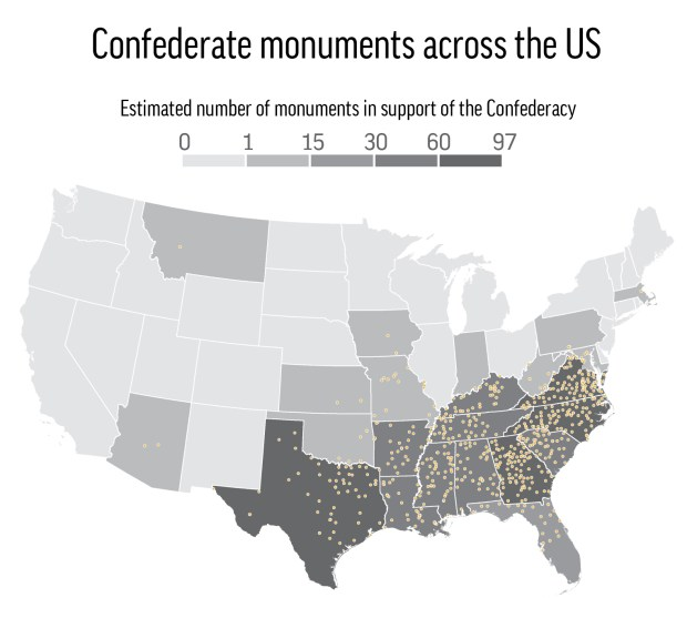 Map locates and totals up the estimated number of Confederate monuments in the U.S.