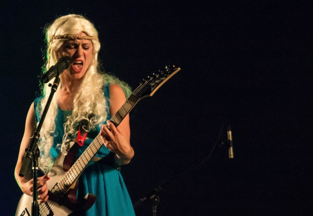 "Suzanne Slade dresses as Daenerys Targaryens from the HBO series ""Game of Thrones"" during a performance of her tribute band Daenerys and the Targaryens."