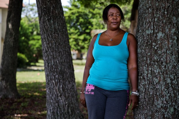 """Jeanie Coleman is shown near her home in West Palm Beach, Florida on August 4, 2017. Coleman applied for a housekeeping job during Mar-a-Lago's """"Made in America Week,"""" but was not hired."""