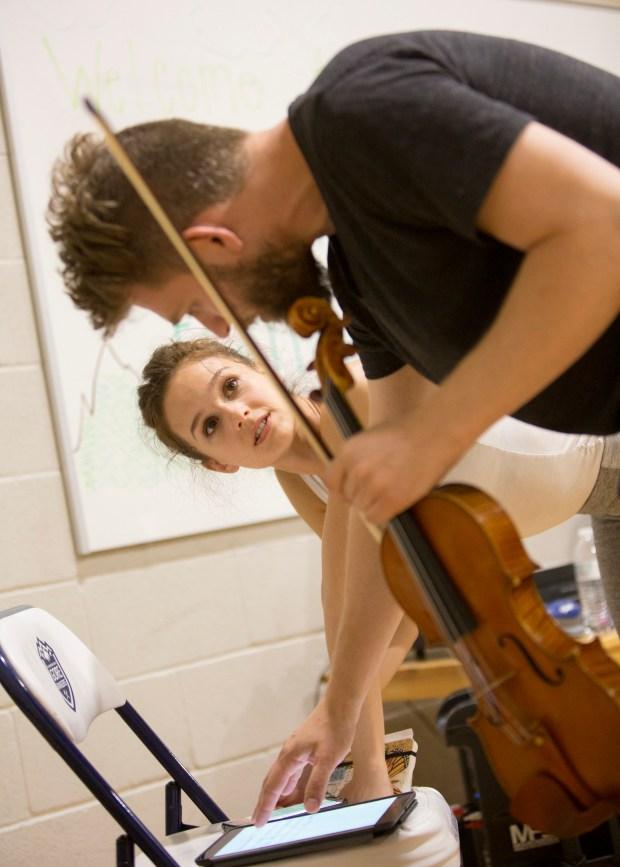 Lauren Lovette talks with violinist Johnny Gandelsman for her new ballet for the Vail Dance Festival.