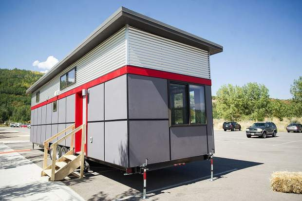 An outside view of Aspen Skiing Co. employee tiny home housing.