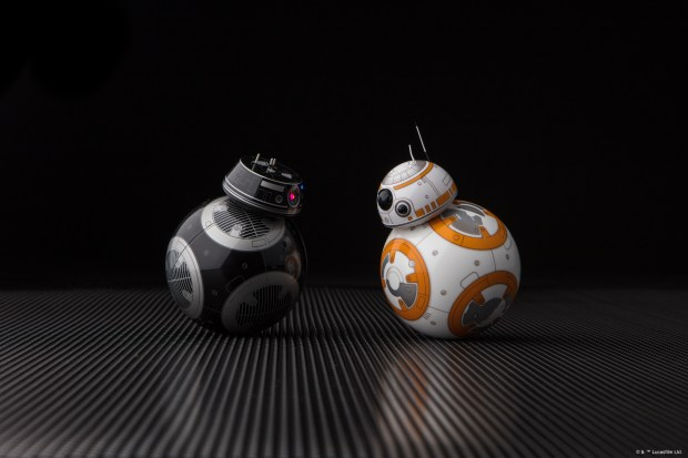 "Sphero makes an evil robot, the BB-9e, which debuts in the upcoming Star Wars movie ""The Last Jedi."" The new droid faces off with the adorable BB-8, Sphero's first Star Wars robot."