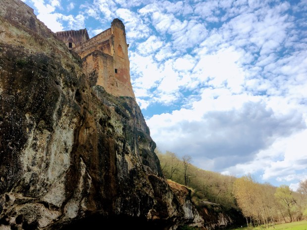 The 12th-century Chateau de Commarque was built on a sheer cliff as a natural fortification.