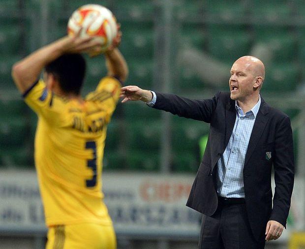 Legia Warsaw's coach Henning Berg reacts ...