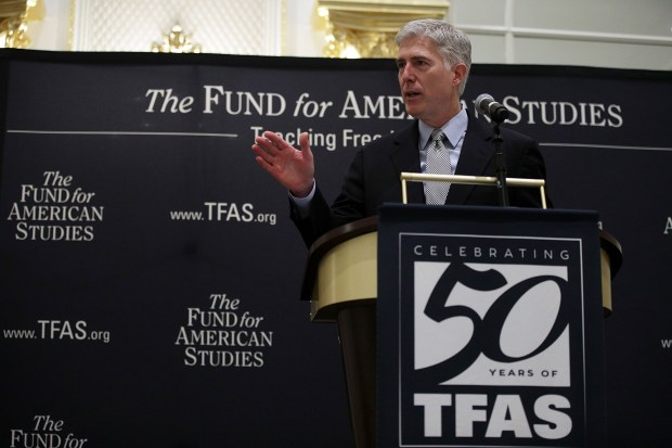 U.S. Supreme Court Justice Neal Gorsuch speaks on Thursday during an event hosted by The Fund for American Studies at Trump International Hotel in Washington, D.C.
