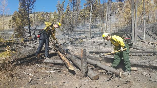 Firefighters on the scene of the Tenderfoot 2 Fire near Dillon.