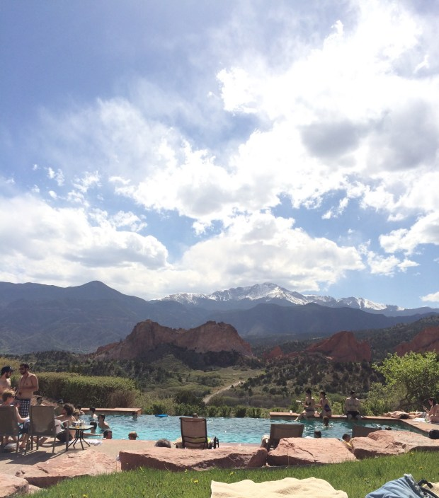 The view from the pool at the Garden of the God's Club and Resort in Colorado Springs taken in May 2014.