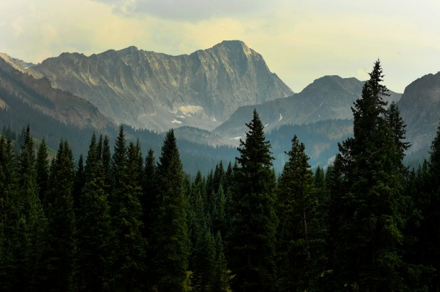 Capitol Peak can be seen in the distance from the Upper Capitol Creek Trail on Sept. 6, 2017 near in the Maroon Bells-Snowmass Wilderness.