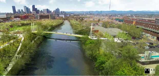 A rendering shows the working design for a Denver pedestrian/bike bridge across the South Platte River between the Taxi mixed-use campus, on the Globeville side on the right, and other parts of the River North Art District.