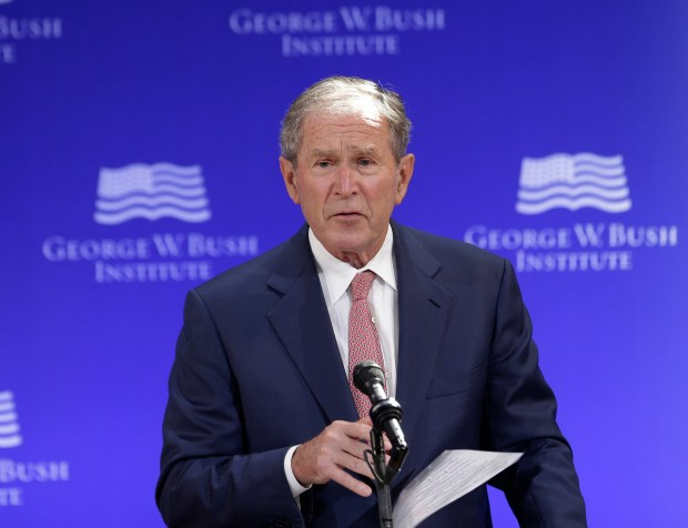 Former President George W. Bush speaks at a forum sponsored by the George W. Bush Institute in New York on Thursday.