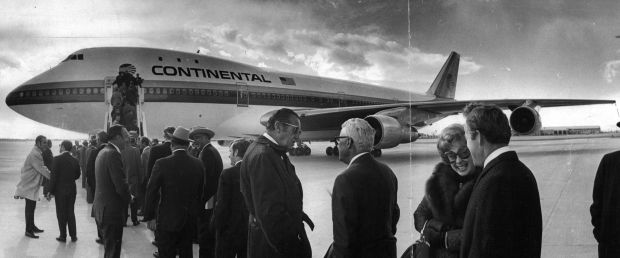 Guests line up at Stapleton International Continental Airlines Boeing 747