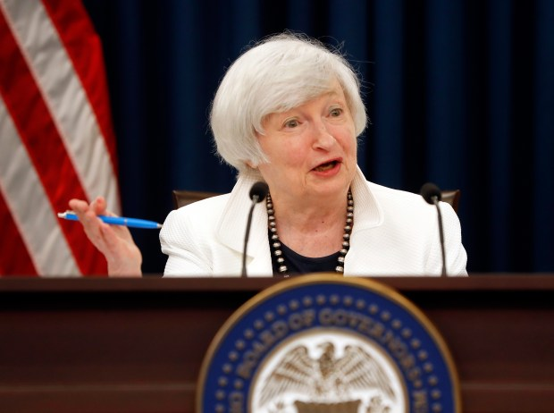 Federal Reserve Chair Janet Yellen speaks during a news conference in Washington on Sept. 20.