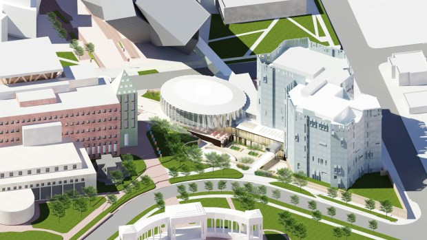 Proposed architectural rendering of an aerial view of the overhauled North Building of the Denver Art Museum. The museum is betting big on the proposed $1 billion city of Denver general obligation bond issue, promising to begin construction on the overhaul of the Gio Ponti-designed wing two weeks after the Nov. 7, 2017, election. Rendering courtesy of Fentress Architects and Machado Silvetti